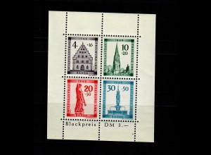 Baden 1949: MiNr. Block, 1 A IV, postfrisch, **
