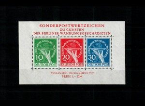 Berlin 1949: MiNr. Block 1 III, postfrisch, **: Echtheitsprüfung BPP Attest