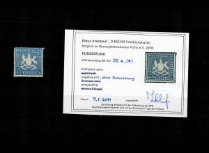 Württemberg: MiNr. 32a, ohne Gummi, BPP Befund