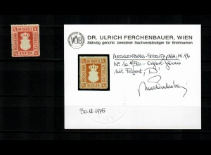 Mecklenburg-Strelitz 1864: MiNr. 1a, original Gummi, Falzsrest, BPP Befund