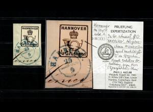 Hannover: MiNr. 22y, Plattenfehler, Luxus gestempelt auf Briefstück