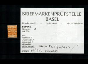 Oldenburg: MiNr. 9, ungebraucht, Alt-Befund
