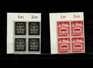 Berlin: MiNr. 110-111, postfrisch, **, VE1, Eckrand Viererblock