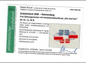 Sudetenland Reichenberg: MiNr. 11/78, gestempelt 1938, Kurzbefund