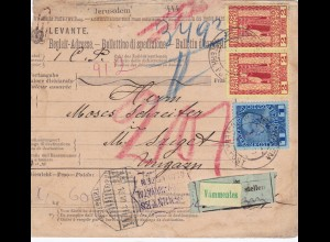 Parcel card Jerusalem (Levante) 1911 to Hungary