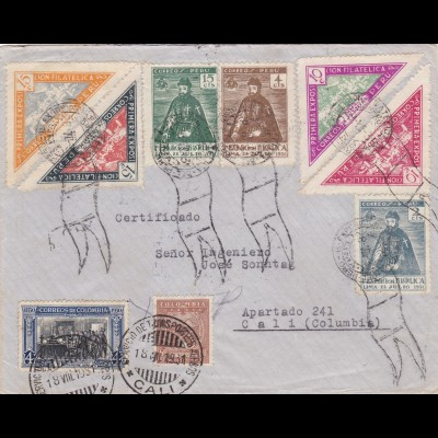 Letter from Peru/Lima to Columbia/Cali 1931