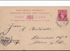 Postcard Falkland Islands/Port Stanley to Germany 1896