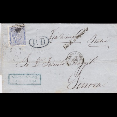 Letter from Spain to Italie 1874
