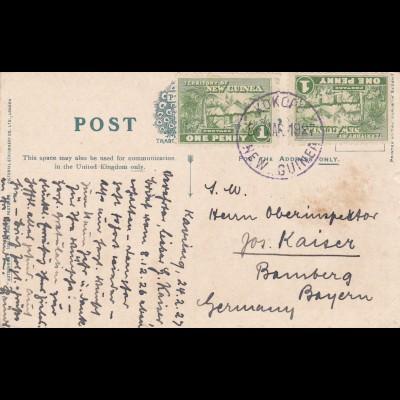 1927: Postcard Truro/New Guinea to Germany