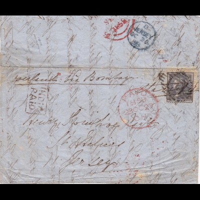 1858: India to Jersey (incoming mail) India-Paid