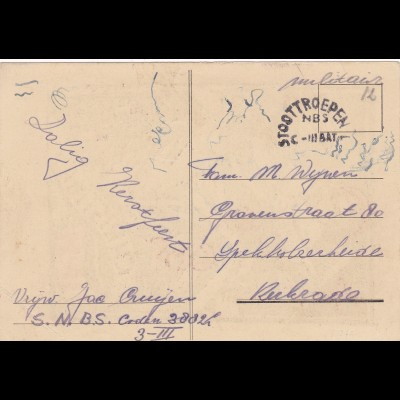 Post card: Peace Christmas 1944: Stoottroepen C-III BAT, militaer