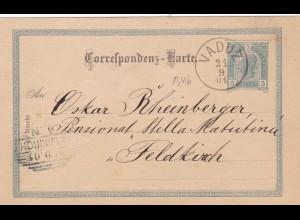 1901: Ganzsache von Vaduz nach Feldkirch