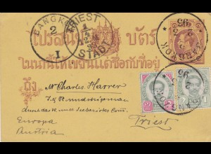 1893: Postkard Bangkok to Austria/Triest
