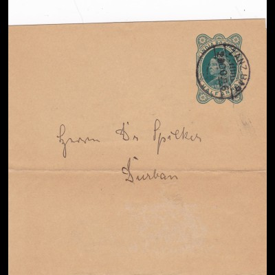1896: India Postage-Half-Anna to Durban