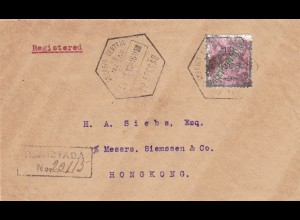 1913: Registered letter from Macau to Hongkong