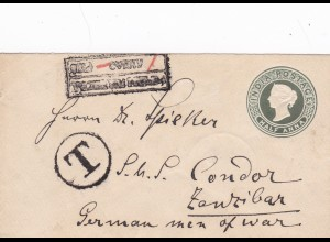 1896: India Postage, half Anna to Zanzibar (German men of war)