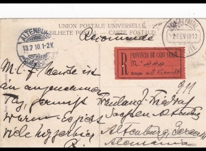 1910: Cabo Verde, Registered post card to Germany, St. Vicente