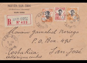 1929: Indo Chine: Nam Dinh-registerd to Costa Rica
