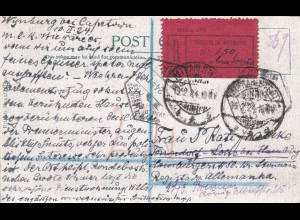 1924: Cape Town, postal card, registered Mocambique to Germany