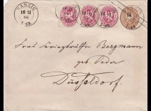 1866: Danzig: Brief von Preussen nach Düsseldorf