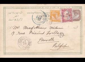 1903: Post card Suez: Cote Francaise des Somalis to Belgium