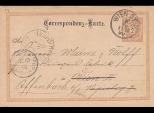 1890: Wien nach Offenbach: Werbung Wasserdichte Wagen Plachen (Planwagen)