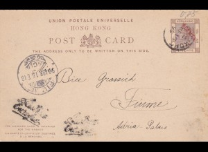 1899: Hongkong post card to Fiume