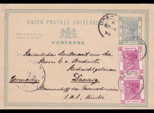 1895: Post card from Hongkong to Danzig: Schiff Reservedivision Mücke