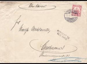 1913: letter Kiautschou/Tsingtau to USA