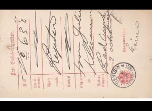 1901: Deutsche Post Tientsin: Post Einlieferungsschein