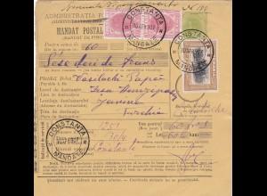 1907: Parcel card Romania/Constanta/Mandate to Janina/Austria