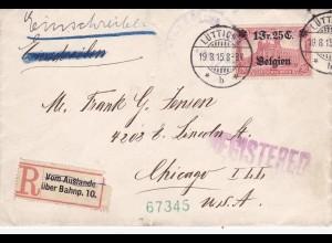 1915: Einschreiben Lüttich nach USA; MiNr. 8 EF