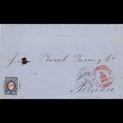 1860: Einschreiben von St. Petersburg nach Pernau, 20 Kop. Marke - Attest