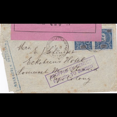 1900: Portugal: Stopped by Censor, return to sender: Kaiserliches Konsulat