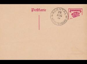 1919: Ganzsache mit Teil-Druck: Korntal