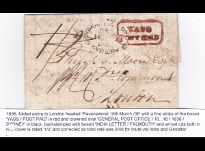 1836: Sydney to London, India Letter/Falmouth