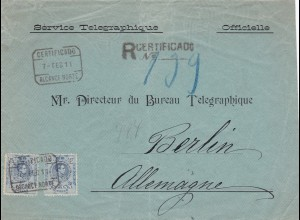 1911: Service Telegraphique: Spain to Berlin