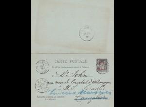France: 1895: Carte Postale to SMS Seeadler Zanzibar