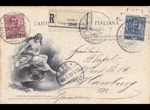 1906: Carte Postale Italy to Hamburg/Germany, registered, eagle