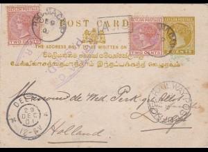 1901: Ceylon post card to Netherlands