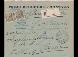 1922: registered letter from Massaua-Eritrea to Berlin (Italy)