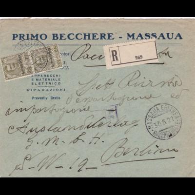 1922: registered letter from Massaua-Eritrea to Berlin (Italy)