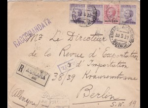 1922: registered letter from Asmara-Eritrea to Berlin (Italy)