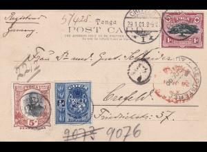 Tonga-Tabu 1901 to Crefeld/Germany, registered postcard, Toga