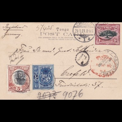 Tonga-Tabu 1901 to Crefeld/Germany, registered postcard, Toga