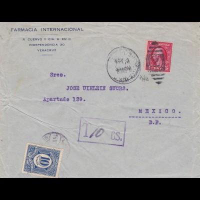 1914: US Postage used in Vera Cruz plus Tax/Mexico