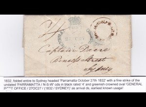 1832: Parramatta to Sydney. Earliest known usage