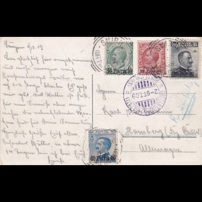 Italy to Germany 1909, registerd, Costantinople - Galata