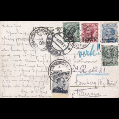 1909: Italy to Germany, registerd, Costantinopol (Galata)