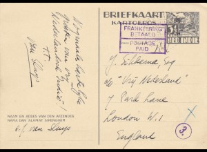 1944: Nederland-Indie to London: Postage paid